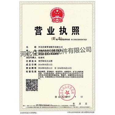 Business license from Hebei Renlong Pipe Fittings Co., Ltd.